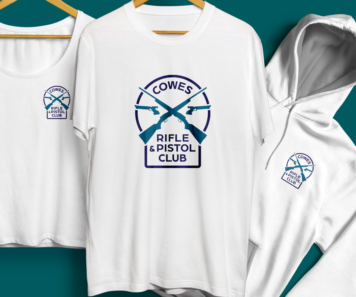Cowes Rifle And Pistol Club teeshirt and logo design 1200x1000