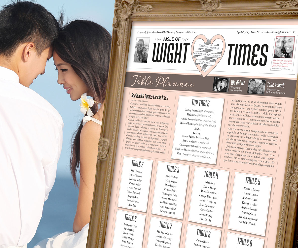 Jack and Jo – Wedding table plan – part of the full wedding stationery design and wedding brand